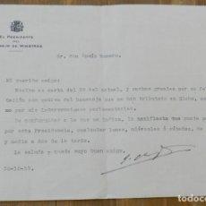 Militaria: CARTA DE JOAQUÍN CHAPAPRIETA TORREGROSA, PRESIDENTE DEL CONSEJO DE MINISTROS, 30 DE OCTUBRE 1935, MI. Lote 293738303