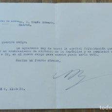 Militaria: CARTA DE ANTONIO ROYO VILLANOVA, MINISTRO DE MARINA, 11 DE MAYO DE 1935, CON FIRMA MANUSCRITA, MIDE. Lote 293739053