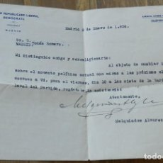 Militaria: CARTA DE MELQUÍADES ÁLVAREZ GONZÁLEZ-POSADA, PARTIDO REPUBLICANO LIBERAL DEMOCRATA, MADRID 8 DE ENER. Lote 293739343