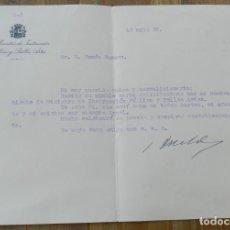 Militaria: CARTA DE JOAQUÍN DUALDE GÓMEZ, MINISTRO DE INSTRUCCION PUBLICA Y BELLAS ARTES 15 DE MAYO 1935, CON F. Lote 293740693