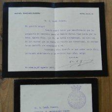 Militaria: CARTA DE RAFAEL SANCHEZ GUERRA, EL SECRETARIO GENERAL DE LA PRESIDENCIA DE LA REPUBLICA 20 DE AGOSTO. Lote 293741163