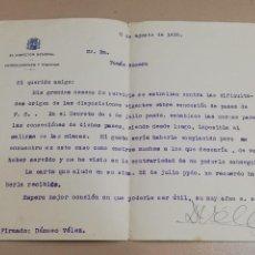 Militaria: CARTA DE DAMASO VELEZ, DIRECTOR GENERAL DE FERROCARRILES Y TRANVIAS, 8 DE AGOSTO DE 1935, CON FIRMA. Lote 293743498
