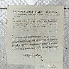 Militaria: DOCUMENTO ISABEL II 1838 NOMBRAMIENTO SUBTENIENTE CIA GRANADEROS MILICIAS PROVINCIALES LOGROÑO 29X21. Lote 293817273