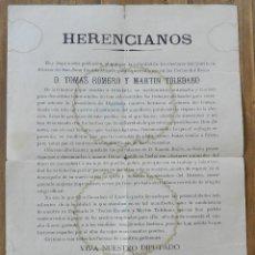 Militaria: CARTEL POLITICO CON MOTIVO DE LA CANDIDATURA POR HERENCIA (CIUDAD REAL), DE D. TOMAS ROMERO Y MARTIN. Lote 294158163