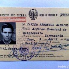 Militaria: TARJETA MILITAR DE IDENTIDAD,EJERCITO DE TIERRA,EXPEDIDO 1967,ALFÉREZ-INFANTERIA.. Lote 294560713