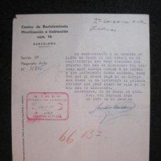 Militaria: GUERRA CIVIL-BARCELONA-CENTRO RECLUTAMIENTO MOVILIZACION E INSTRUCCION-AÑO 1938-VER FOTOS-(K-4471). Lote 295727428