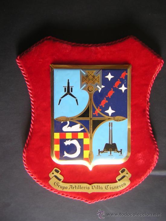 PLACA METALICA GRUPO ARTILLERIA DE VILLA CISNEROS, MEDIDA PLACA 16,5 X 13 CM.,MARCO 26 X 19 CM. (Militar - Reproducciones, Réplicas y Objetos Decorativos)