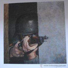 Militaria: DIVISION AZUL. LAMINA EN PAPEL OLEO. DE LA TIRADA NUMERADA DE 99 LAMINAS. BLUE DIVISION. A CUBIERTO.. Lote 54377408