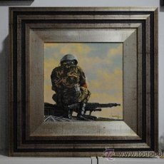 Militaria: CARRISTA ESPAÑOL. CARRO LEOPARDO 2E. HORIZONTE DE LEOPARDO OLEO DE JOSE FERRE CLAUZEL TÍTULO: HORIZO. Lote 29995083