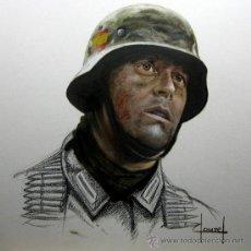 Militaria: LAMINA DE JOSE FERRE CLAUZEL SOBRE LA DIVISION AZUL. EN BASE A UN BOCETO. WEHRMACHT. INFANTERIA ESPA. Lote 57069467