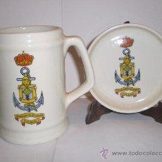 Militaria: JARRA Y PLATO DE COLECCIÓN. CERÁMICA. . COMANDANCIA DE MARINA. BILBAO. Lote 33708449