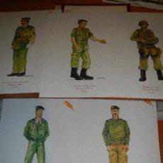 Militaria: 5 DIBUJOS DE LA BRIGADA PARACAIDISTA, 5 LITOGRAFIAS IDEAL PARA HACER UNOS CUADROS. Lote 40756389