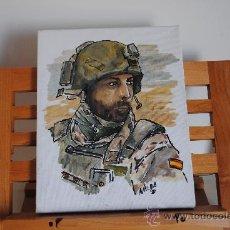 Militaria: OLEO SOBRE LIENZO. SOLDADO ESPAÑOL EN AFGANISTAN O IRAK. FIRMA NALDA. 24X19CM. Lote 35825754