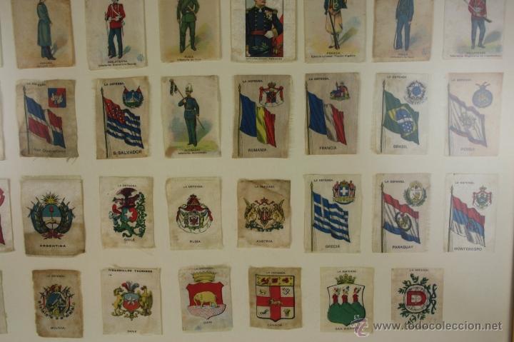 Militaria: K3-023. COMPOSICION DE SOLDADOS, BANDERAS Y ESCUDOS DE SALA IMPRESO EN SEDA. PRINC S XX. - Foto 4 - 39735182