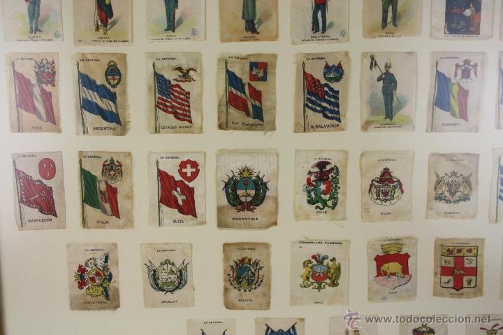 Militaria: K3-023. COMPOSICION DE SOLDADOS, BANDERAS Y ESCUDOS DE SALA IMPRESO EN SEDA. PRINC S XX. - Foto 5 - 39735182