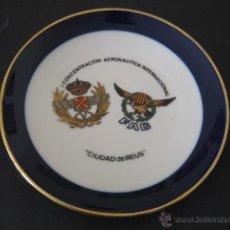 Militaria: PLATO PORCELANA 1ª CONCENTRACION AERONAUTICA INTERNACIONAL. CIUDAD REUS. AVIACION - AVIONES ROKISKI. Lote 39813924