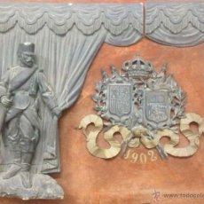 Militaria: RELIEVE DE MADERA CON MARCO DE TERCIOPELO. Lote 40262267