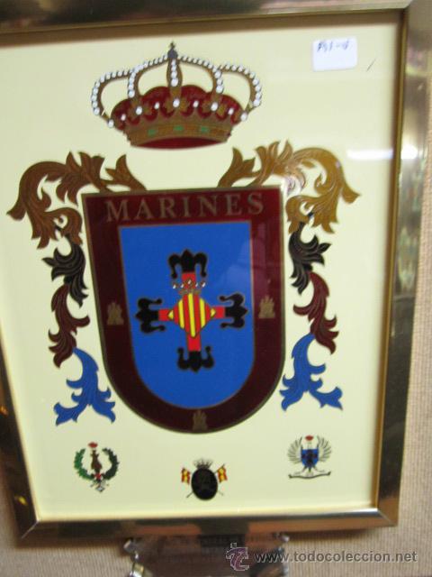 Militaria: Escudo militar de marines enmarcado. Con dedicatoria. Medida escudo: 19 x 24 cms. - Foto 2 - 40705278