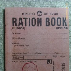 Militaria: LIBRO DE RACIONAMIENTO. JUNIOR. 1944-1945. MINISTRY OF FOOD. REINO UNIDO. II GUERRA MUNDIAL. Lote 45159275