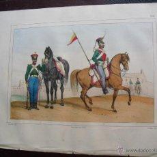 Militaria: 1853 CROMOLITOGRAFIA DE CARABINERO Y LANCERO EN 1847. Lote 48820718