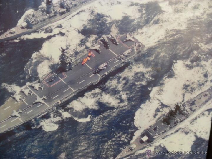 Militaria: lamina enmarcada portaviones P. asturias y fragata baleares,gran tamaño ministerio defensa - Foto 2 - 54298857