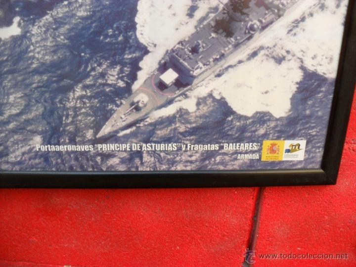Militaria: lamina enmarcada portaviones P. asturias y fragata baleares,gran tamaño ministerio defensa - Foto 3 - 54298857