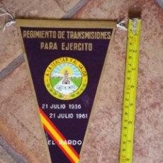 Militaria: BANDERIN AÑOS 50-60 REGIMIENTO DE TRANSMISIONES DEL PARDO. Lote 54696223