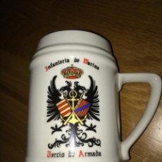 Militaria: JARRA DE INFANTERIA DE MARINA TERCIO DE ARMADA SELLADA BASE CERAMICA CARTAGENA. Lote 54773533