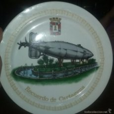 Militaria: SUBMARINO PERAL. PLATO RECUERDO DE CARTAGENA.. Lote 57834206