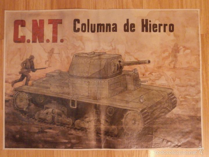 Militaria: CARTEL - C.N.T. - COLUMNA DE HIERRO - 42 cm x 29,5 cm.. - - Foto 2 - 58331682