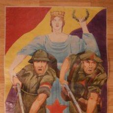 Militaria: CARTEL - LOS INTERNACIONALES - 42 CM X 29,5 CM.. -. Lote 58331697