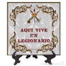 Militaria: AZULEJO 20X20 AQUI VIVE UN LEGIONARIO. Lote 58338894