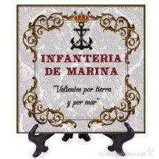 Militaria: AZULEJO 20X20 DE LA INFANTERIA DE MARINA CON LEMA.. Lote 58346169