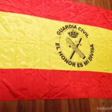 Militaria: PRECIOSA BANDERA DE ESPAÑA CON EL EMBLEMA Y LEMA DE LA GUARDA CIVL. Lote 102526735