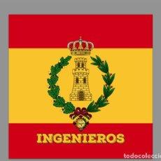 Militaria: AZULEJO 20X20 CON EL EMBLEMA DE INGENIEROS CON BANDERA DE ESPAÑA. Lote 61749440