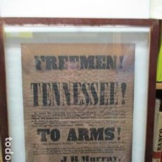 Militaria: FREEMEN OF TENNESEE TO ARMS RECRUITING POSTER. Lote 64423523