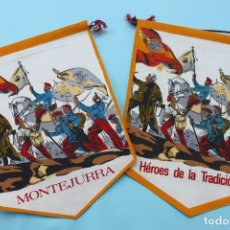 Militaria: BANDERIN CARLISTA MONTEJURRA Y HEROES DE LA TRADICION - LOS DOS. Lote 66763742