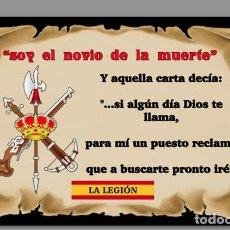 Militaria: AZULEJO 20X30 SOY EL NOVIO DE LA MUERTE,LEGÍON ESPAÑOLA. Lote 115060560