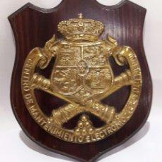 Militaria: METOPA BRONCE Y MADERA CENTRO DE MANTENIMIENTO ELECTRÓNICO Y APOYO GENERAL - BRONCE Y MADERA. Lote 76020990