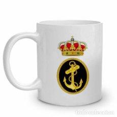 Militaria: TAZA DE CERÁMICA CON EMBLEMA DE LA ARMADA ESPAÑOLA. Lote 107327424