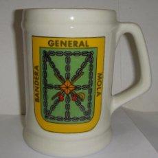 Militaria: JARRA DE COLECCIÓN. CERÁMICA.BANDERA - GENERAL - MOLA.. Lote 84733308