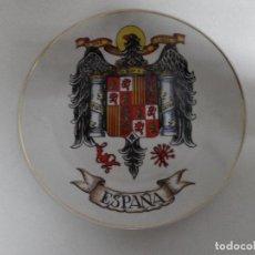 Militaria: PLATO ESCUDO ESPAÑA, EPOCA DE FRANCO. FILO DORADO- 20 CM. Lote 85366620