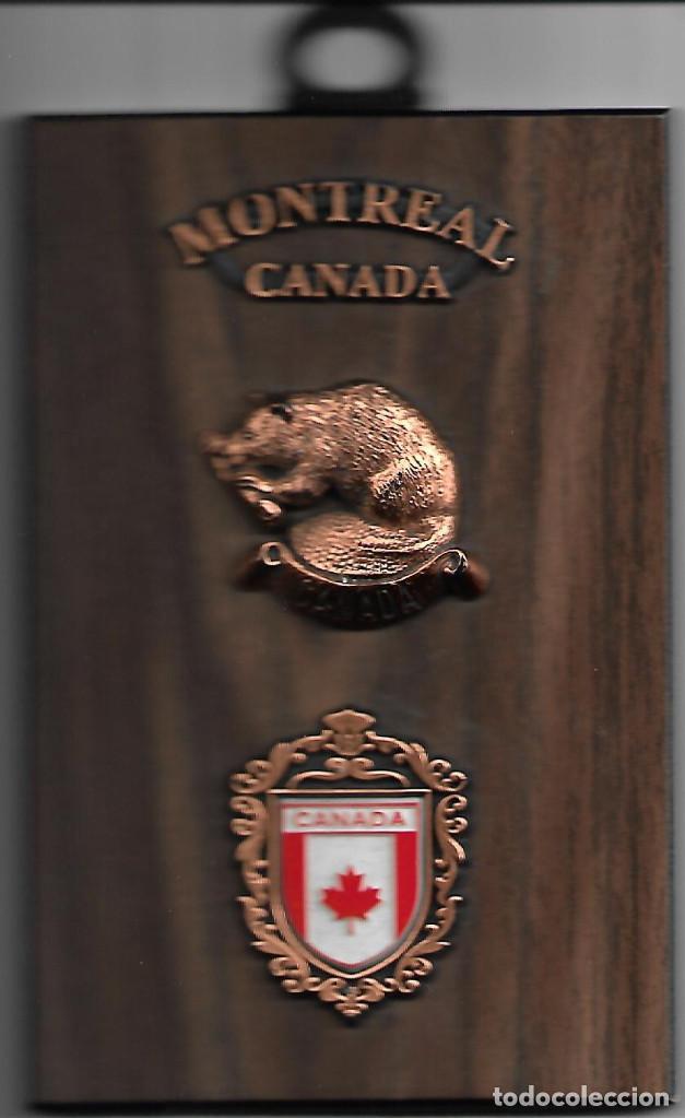 ORIGINAL METOPA EN MADERA COBRE Y ESMALTE DE CANADA MEDIDAS 15 X 10 CM (Militar - Reproducciones, Réplicas y Objetos Decorativos)