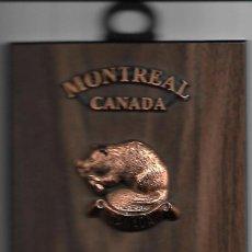 Militaria: ORIGINAL METOPA EN MADERA COBRE Y ESMALTE DE CANADA MEDIDAS 15 X 10 CM. Lote 85424952