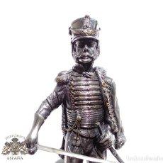 Militaria: PRECIOSA FIGURA EN PLATA DE LEY HUSAR DE CABALLERÍA. S.XIX - 25 ALTO X 8 CM ANCHO PESO 460 GRAMOS. Lote 90638950