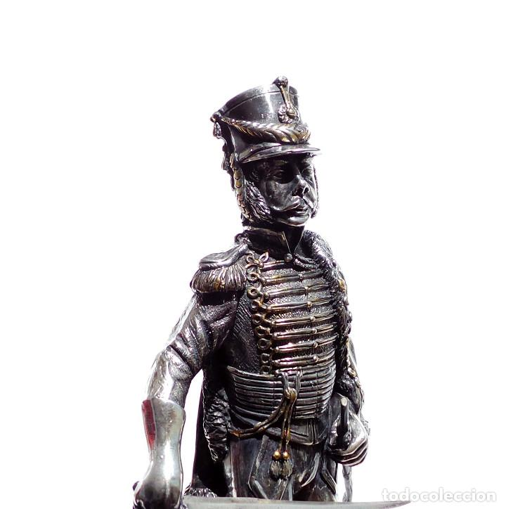 Militaria: PRECIOSA FIGURA EN PLATA DE LEY HUSAR DE CABALLERÍA. S.XIX - 25 ALTO X 8 CM ANCHO PESO 460 GRAMOS - Foto 9 - 90638950