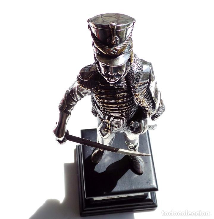 Militaria: PRECIOSA FIGURA EN PLATA DE LEY HUSAR DE CABALLERÍA. S.XIX - 25 ALTO X 8 CM ANCHO PESO 460 GRAMOS - Foto 17 - 90638950