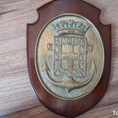 Militaria: METOPA ALMANZARA BARCO MILITAR BRONCE Y MADERA. Lote 94306774