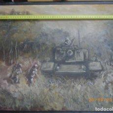 Militaria: OLEO SOLDADOS ESPAÑOLES Y CARRO DE COMBATE, ¿ DIVISION AZUL ?. Lote 98550211