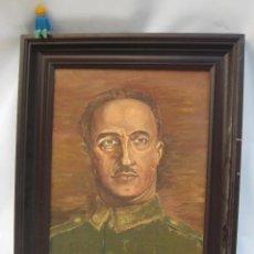 Militaria: PINTURA CUADRO AL OLEO GENERALISIMO FRANCISCO FRANCO VINTAGE AÑOS 60 -70 . Lote 106468239